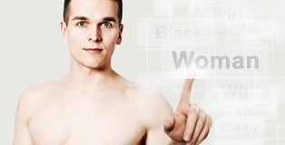 Young man search a woman Stock Photography