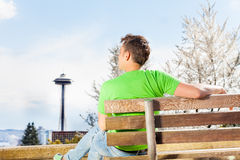 Young man with Seattle space needle on background Stock Photo