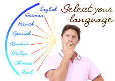Young man selecting the language. A young man selecting a language from a list of available ones Royalty Free Stock Photos