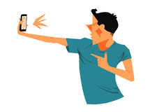 Young man selfie illustration Stock Photography