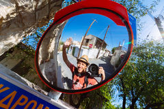 Young man selfie with mirrors Stock Photo