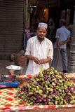 Young man selling fruits in the street of Delhi, India Royalty Free Stock Image