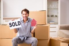 The young man selling his house. Young man selling his house royalty free stock photos