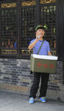 Young man selling ice cream in the street,chengdu,china Royalty Free Stock Photo