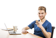 Young man sending text messages Royalty Free Stock Images