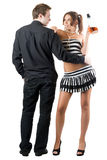 Young man and sexy woman Stock Images