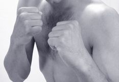 Young man shadow boxing royalty free stock photo