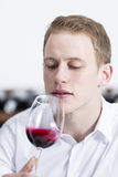 Young man shaking a red wine glass. Man on a wine tasting session on the olfactory phase is analyzing the red wine shaking the glass of wine Stock Photo