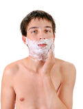 Young Man with Shaving Cream Stock Photos