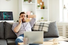Man with modern gadgets stock images