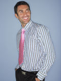 Young Man In Shirt And Tie Smiling Stock Photo