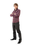 Young man in shirt and trousers Royalty Free Stock Photos