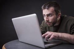 Shocking laptop content royalty free stock image