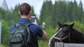 A young man shoots a horse on a cell phone at a farm or village fair or festival. A young man with a backpack on his shoulders takes pictures of a horse on a stock video