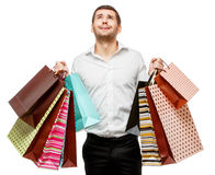 Young man with shopping bags Stock Photography