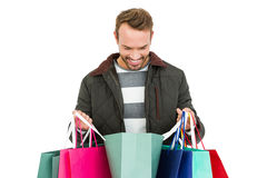 Young man with shopping bags Royalty Free Stock Photography
