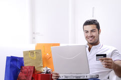 Young man in shopping on-line Royalty Free Stock Photo