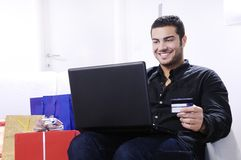Young man in shopping on-line Royalty Free Stock Images