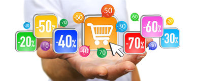 Young man shopping during sales period Royalty Free Stock Photo
