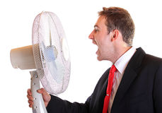 Young man shout against ventilator Stock Image