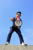 Young man shout megaphone Royalty Free Stock Photos