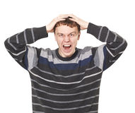 Young man shouting. Over white Royalty Free Stock Photography