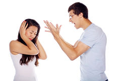 Young man shouting at his girlfriend Royalty Free Stock Image