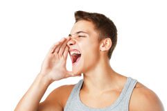 Young man shouting Royalty Free Stock Photos