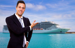 Young man show the Cruise Ship Royalty Free Stock Photos