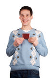 Young man show red card Royalty Free Stock Photos