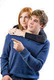 Young man show something to his girlfriend Royalty Free Stock Photos