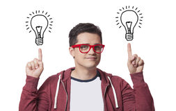 Young man show two abstraсt idea lamps Stock Photos