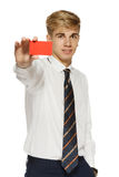 Young man showing blank business card Stock Photos
