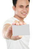 Young man showing blank card Stock Photos