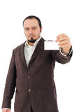 Young man showing blank card. Young man in suit showing blank card Royalty Free Stock Images