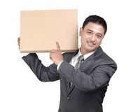 Young man showing blank cardboard Stock Image