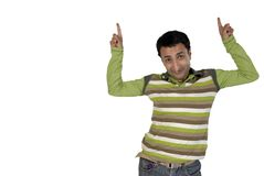 Young man showing direction up Royalty Free Stock Images