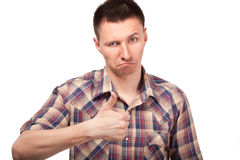 Young man showing gesture thumbs up Stock Image