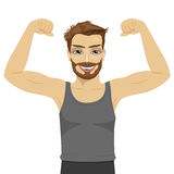 Young man showing his muscles. Fit fitness strength health hobby concept. Over white background Stock Photo