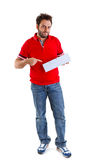 Young man showing the italian money order Stock Photography