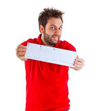 Young man showing the italian money order Stock Photo