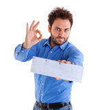 Young man showing the italian money order Royalty Free Stock Photography