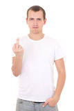 Young man showing middle finger isolated on white Royalty Free Stock Photos