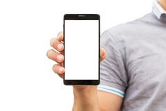 Young man showing a mobile phone application Royalty Free Stock Images