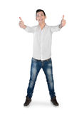 Young man showing ok sign Stock Images