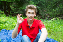 Young man showing Ok sign. Over green nature background Stock Photos