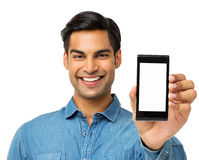 Young Man Showing Smart Phone Stock Photos