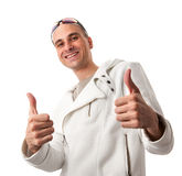 Young man showing thumb up Stock Image