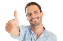 Young Man Showing Thumb Up Stock Photos