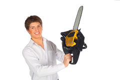 Young man shows chainsaw Royalty Free Stock Photo